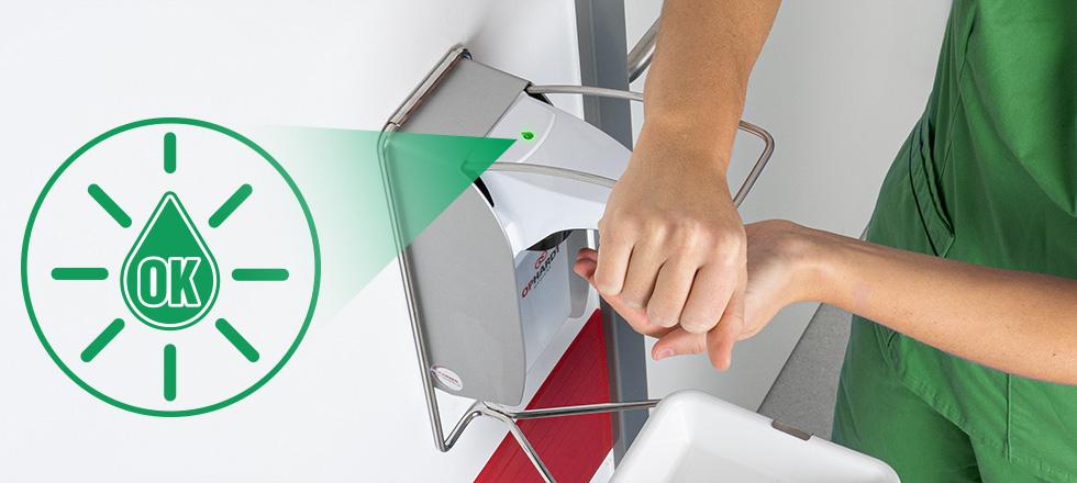 Hygienische Händedesinfektion mit Feedback