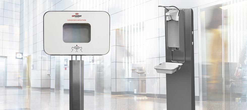 Händehygiene-Station mit Desinfektionsmittelspender