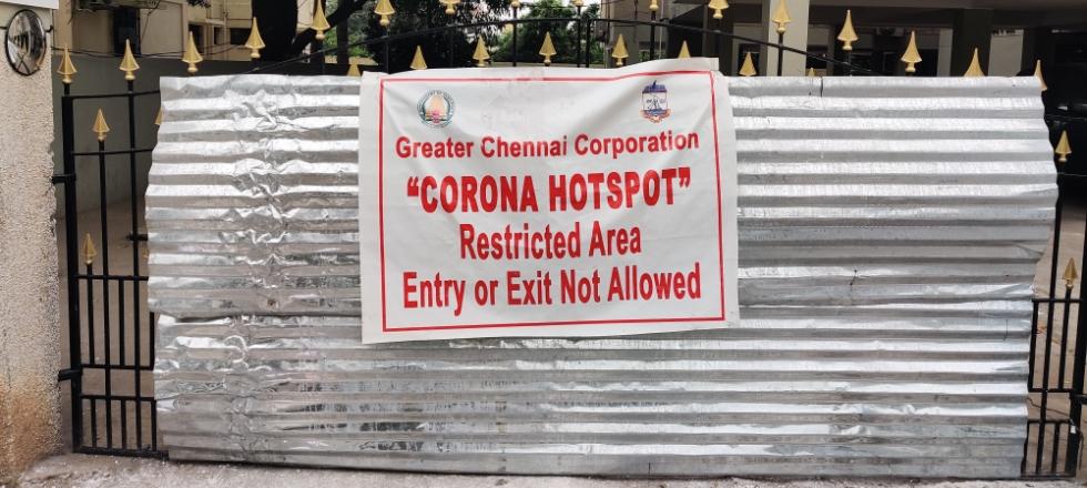 A COVID-19 hotspot in Chennai, India.